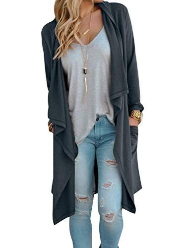 Cardigan Cascading - Little Beauty Plus Size Open Front Knit Long Sleeve Cardigan Grey XXL