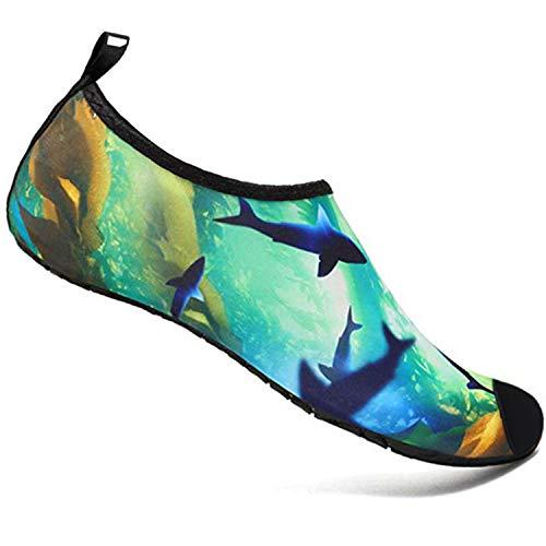 Double Couple Water Shoes Men Women Barefoot Quick-Dry Aqua Shoes Swim Surfing Beach Shoes (US Women 10-11/US Men 8.5-9.5, Ocean) ()