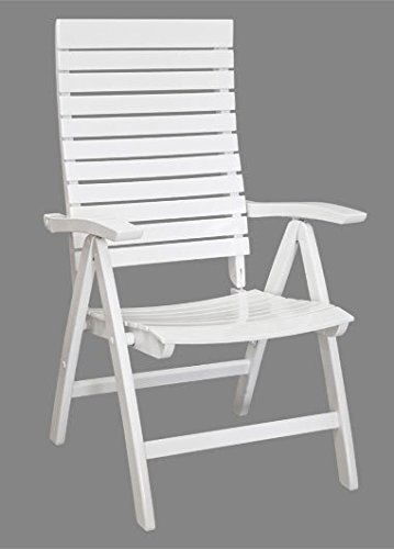 weiß lackiert Gartenmöbel Holz Sessel Terrasse Gartenstuhl Hochlehner