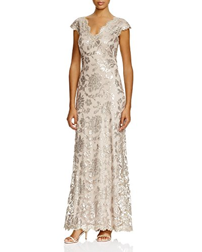 Tadashi Shoji Women's V-Neck Sequin Embroidered Full-Length Gown, Sand, Size 4
