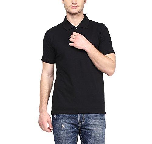 American Crew Men's Polo Collar Black T-Shirt – L (AC025-L)