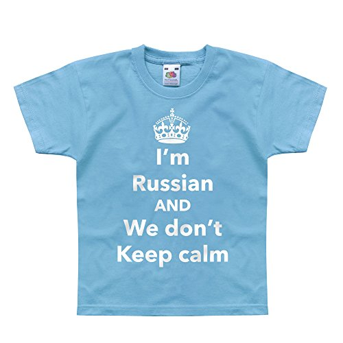 Price comparison product image Nutees I'm Russian And We Don't Keep Calm Unisex Kids T Shirts - Light Blue 14 / 15 Years