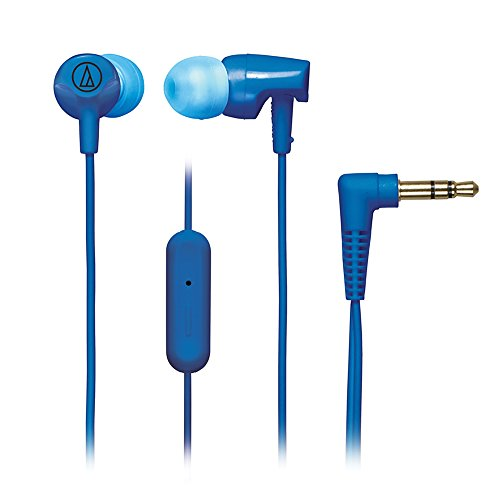 Audio-Technica ATH-CLR100iSBL SonicFuel In-Ear Headphones with In-line Microphone & Control, Blue