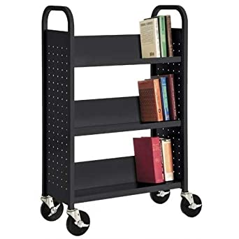 "Sandusky SL327-09 Black Heavy Duty Welded Steel Single Sided Sloped Shelf Book Truck, 3 Shelves, 200 lb. Capacity, 46"" Height x 28"" Width x 14"" Depth"