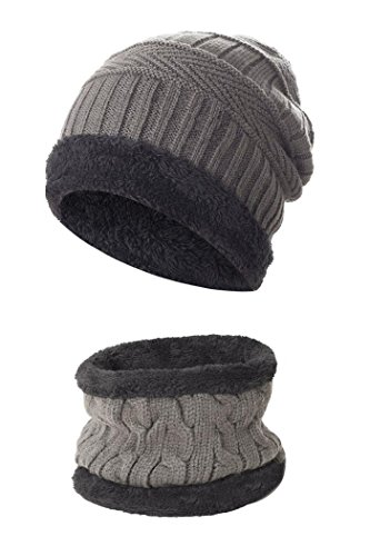 Beaii Sombrero de punto de calentamiento para hombres con forro polar Bufanda Gris-s