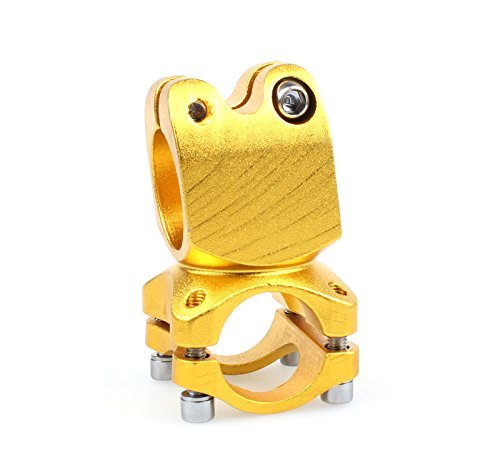 Bicycle Stem 7 Degree 25.4mm MTB Bike Cycling Road Bike Short Handlebar BMX Colorful Design (Gold)