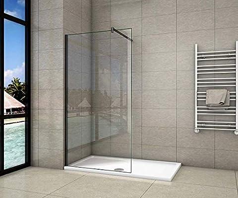 Walk-In - Mampara de ducha con marco negro mate, cristal templado de 8 mm, fácil de limpiar, con barra estabilizadora, color negro mate, recortable: 90 cm: Amazon.es: Bricolaje y herramientas