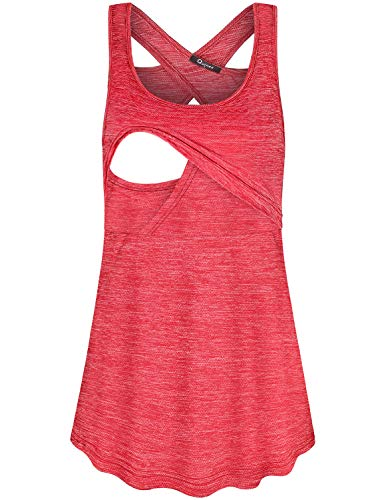 Quinee Criss Cross Shirts for Women, Ladies Solid Color Tank Top Summer Sleeveless O Neck Back Splicing Design Comfy Postpartum Tunic Maternity Nursing Cami for Breastfeeding Red L