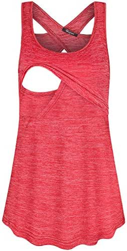 Quinee Women's Round Neck Back Criss Cross Nursing Tank Tops for Breastfeeding