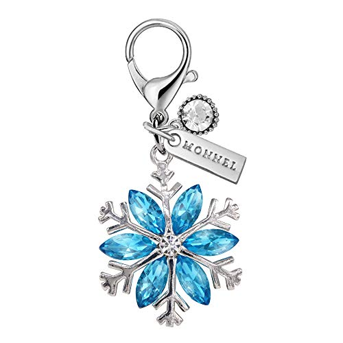 (MC125 New Blue Rhinestone Snowflake Lobster Clasp Charm Pendant with Pouch Bag (1 Piece))