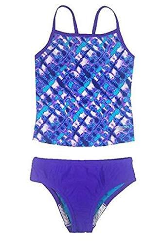 Speedo Girl's Sporty Splice Tankini 2 Piece Swimsuit (Purple, 10) - Girls Speedo 2 Piece Swimsuit