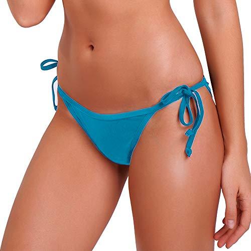 (KIWI RATA 2018 New Womens Swimwear Sexy Tie Side Sweet Heart Brazilian Bikini Bottom Hipster Swimsuit Beachwear Swimwear (L, Blue))