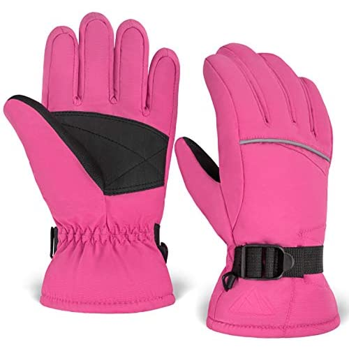 Toddler /& Youth Kids Winter Gloves Windproof Thermal Shell /& Synthetic Leather Palm Girls Designed for Cold Weather Outdoor Play Skiing /& Snowboarding Snow /& Ski Waterproof Gloves for Boys