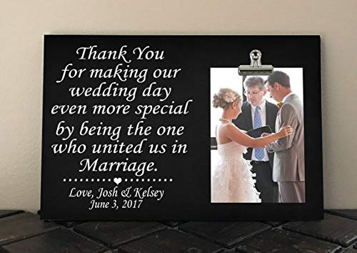 (wood picture frame Wedding Officiant Gift, Free Design Proof and Personalization, Thank You for Making Our Wedding Even More Special. United us Marriage ty10)