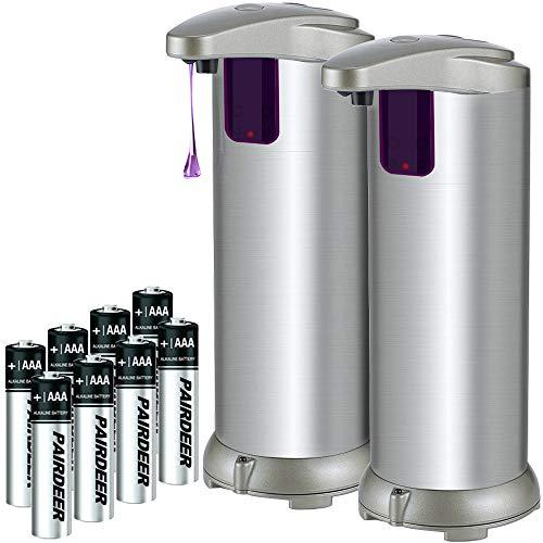 (Soap Dispenser, Lovin Product Premium Touchless Automatic Soap Dispenser; Adjustable Soap Volume, Infrared Motion Sensor, Brushed Stainless-Steel, Dish Liquid Dispensers for Kitchen, Bathroom (2 PACK))