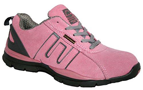 Zapatillas de seguridad para hombre GR86, de piel, con punta de acero y cordones rosa/gris