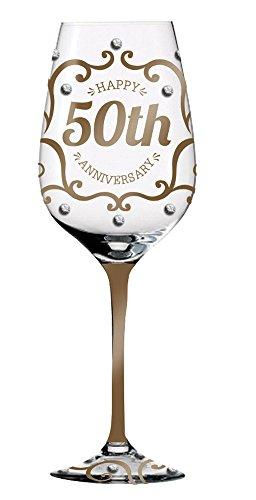 Golden Wedding Anniversary Keepsake Hand-Painted Wineglass -