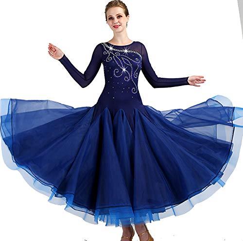 garudaレディース社交ダンスドレス パーティーダンス発表会ワンピースドレス 舞台衣装ワンピース ネイビー サイズオーダー可 B07J38MKDR ネイビー,Medium