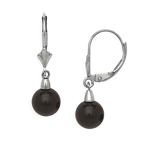 (Jewelryweb Solid 14k Yellow or White Gold Natural Black Onyx Gemstone Lever-Back Dangling Drop Earrings (white-gold))
