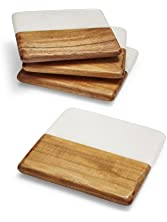 Sur La Table Marble and Wood Coasters STW - 3320 C, Set of 4
