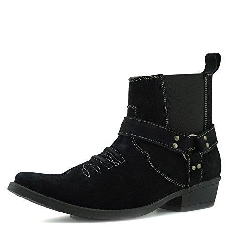 Mens Footwear In Tirare Camoscio Nero Western Pelle Alla Kick Caviglia Tacco Scamosciata Stivali Cubano Di Cowboy Hp1q5Wwf