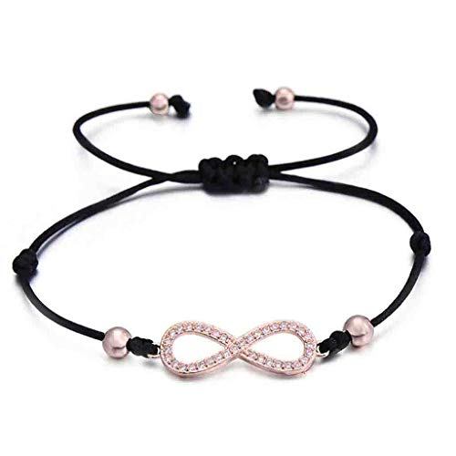 liberalism Love Infinity Charm Bracelet for Women Men Children Lovers Lucky Red String Bracelets Couple Jewelry Rope Braided(Adjustable,Rose Gold)