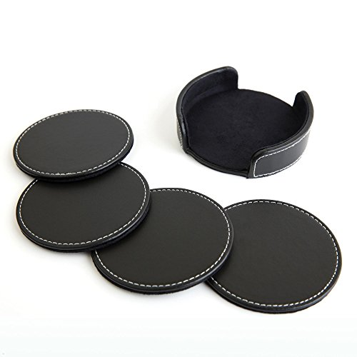Fine Leather Coaster Set (4pc), Premium Tabletop Coasters for Wine Glasses, Drinks and Beverages, Wide Diameter (4