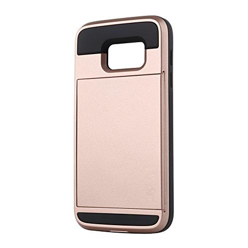 Telefon-Kasten - SODIAL(R)Karte Tasche Stossfeste Duenne Hybrid Mappe Abdeckung fuer Samsung Galaxy S7 Edge Rose Golden