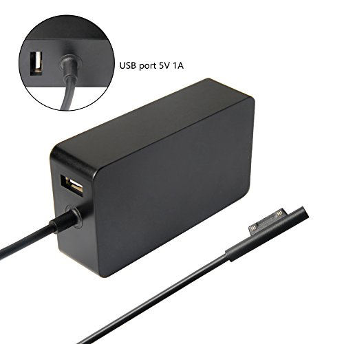 Pack-75 65W 15V 4A AC Power Adapter Charger Cord for Microsoft Surface Book Surface Pro 3 Pro 4 Pro5 2017 with USB Charging Port 6Ft Power Cord fit Model 1706 by TREE.NB