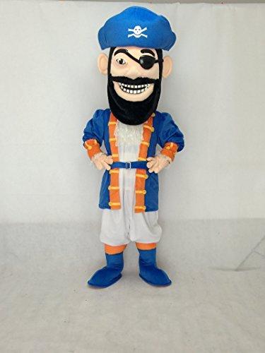 New Redbeard Pirate in Blue Mascot Costume