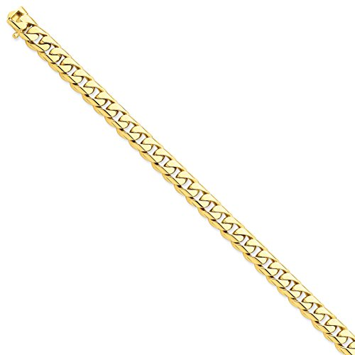 14k Yellow Gold 8.3mm Rounded Curb Link Bracelet 9inch by Diamond2Deal