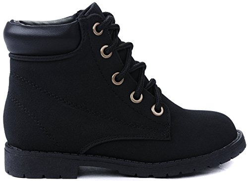 Bade Kids Girls Combat Military Lace Up High Top Ankle Boots