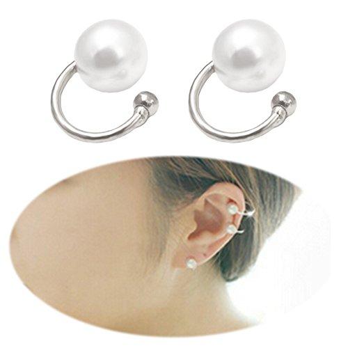 Faux Pearl U Studs Ear Crawler Earrings Cuffs Climber Ear Wrap Pin Vine Non-pierced Charm Clip On Jewelry Big Pearl Silver Tone Faux Pearl Dangle Pierced Earrings