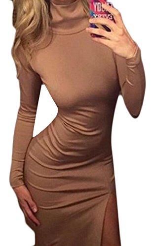 Confortables Femmes Bodycon Haut Du Cou Coupé Mi-longueur Solide Partie Sexy Robe Kaki