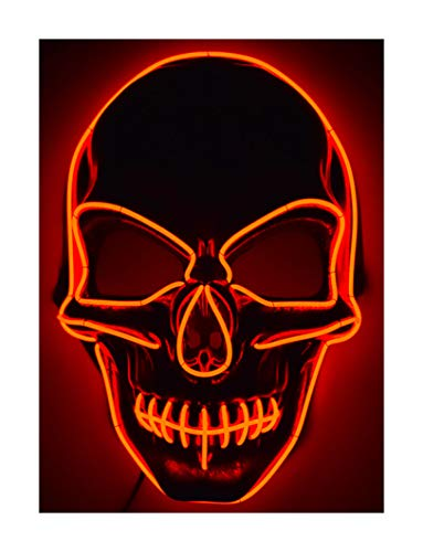 GlowCity Light Up Skull Mask-Uses El Wire (All