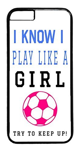 THE FORTRESS Premium cases -Soccer Girl Pink Futbol Ball Quote3 rubber Plastic Black Case Cover for NEW iPod 6 6th Gen by FOR8 (4.7 inch)The perfect blend of minimalism and shock absorbtion