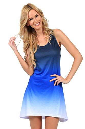 IGX Women's Casual Tie Dye Racerback Tank Dresses Loose T-Shirt Sundress Summer Beach Rayon Dress (A - Blue Dip Dye, (Dip Dye Tank Dress)