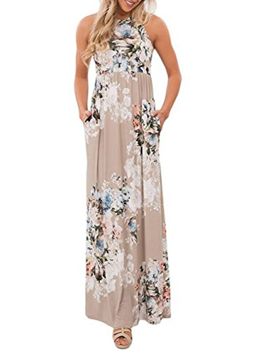 Jug&Po Women's Floral Print Sleeveless Long Maxi Casual Dress (X-Large, Beige)