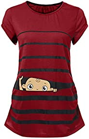 WUAI-Women Maternity Baby Peeking Graphic T Shirt Cute Funny Short Sleeve Pregnancy Shirts Tops Plus Size