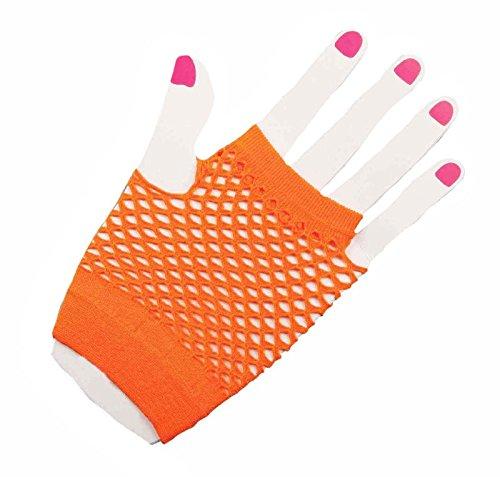 Orange Fishnet Fingerless Wrist Gloves