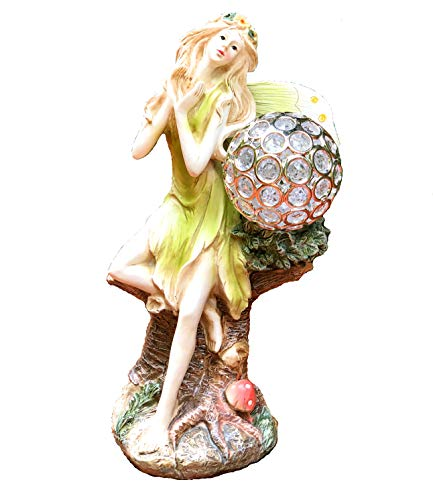 Bo-Toys Solar Powered Fairy Angel with Solar Glowing Globe LED Garden Light Decor Color Change