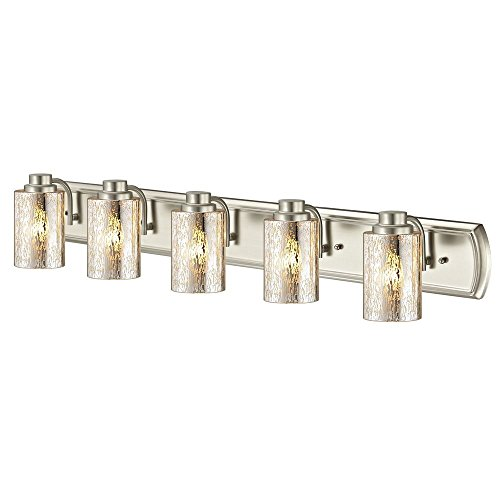 Industrial Mercury Glass 5-Light Bathroom Light in Satin Nickel