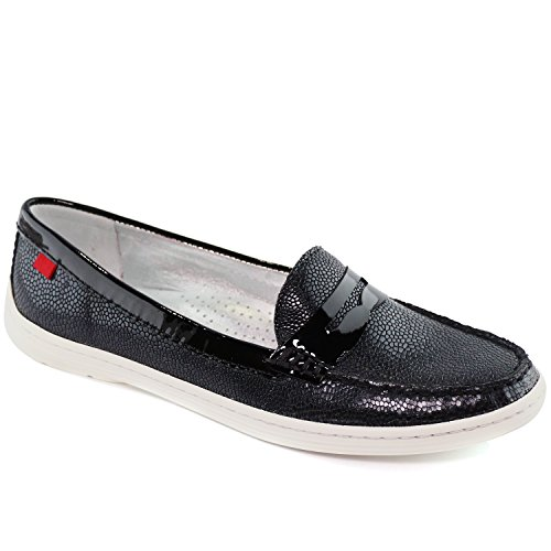 Marc Joseph New York Women's Leather Made in Brazil Atlantic Driving Style Loafer Black Grainy Pebble