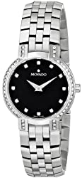 "Movado Women's 605586 ""Faceto"" Stainless Steel Watch with Diamonds"
