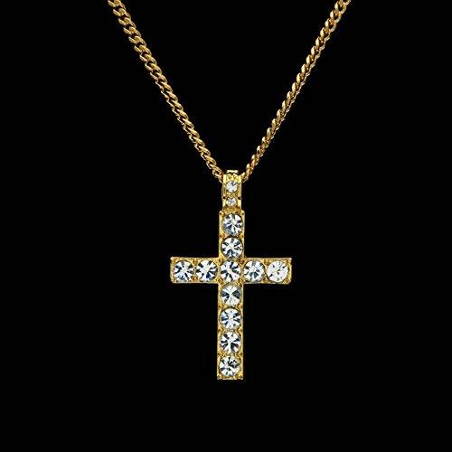 14768f1b26e6 80% OFF Beydodo Colgante Collar Chapado en Oro Hombre Collar de Hombre  Collar Cruz Circonita