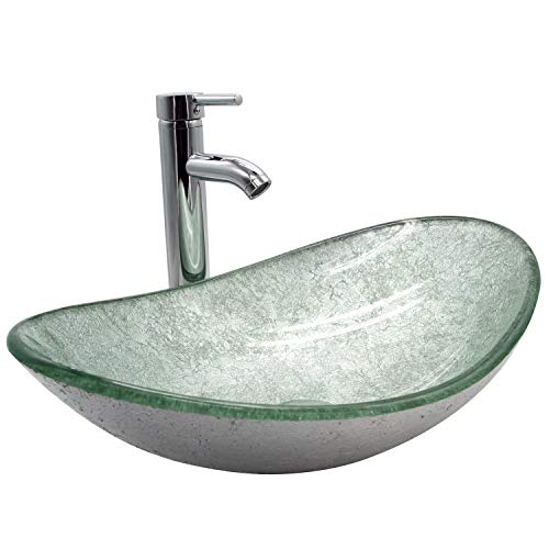 DOIT Bathroom Oval Silver Green Glass Vessel Sink Bowl with Chrome Faucet and Pop Up Drain Combo Set -