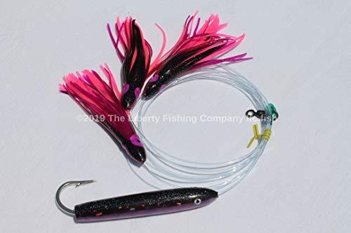 4in Purple/Black Holograph Cedar Plug Daisy Chain with UV Saltwater Fishing Lure for Mahi Tuna Sails Wahoo