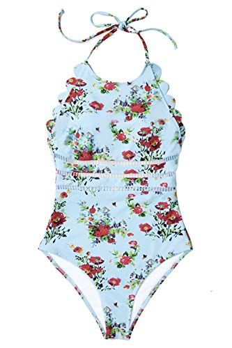- CUPSHE Women's Light Blue Floral Scalloped Halter One Piece Swimsuit Small