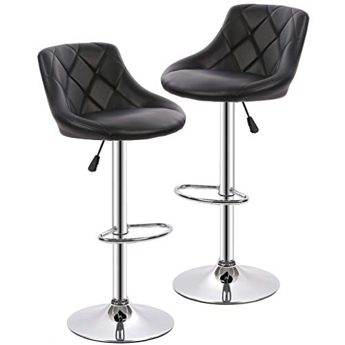 (BestOffice Set of (2) Black Bar Stools Leather Modern Hydraulic Swivel Dinning Chair Barstools)