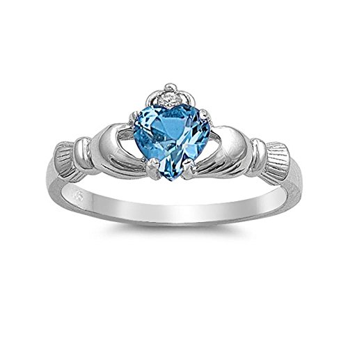 Glitzs Jewels Sterling Silver Simulated Blue Topaz Claddagh Engagement Ring, 9mm Choose Your ()